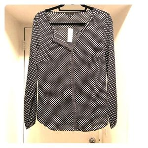 Ann Taylor Polka Dot Long Sleeve Blouse